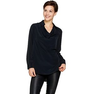 Lisa Rinna Collection Collared Cowl Neck Blouse